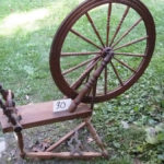 antique tilt tension Quebec production spinning wheel from Magnus Wools, Peacham, Vermont