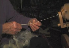 Hand spinning at Magnus Wools, Peacham, Vermont